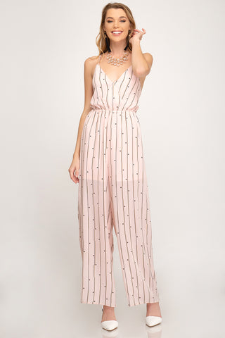 Lace Up Back Striped and Dot Jumpsuit
