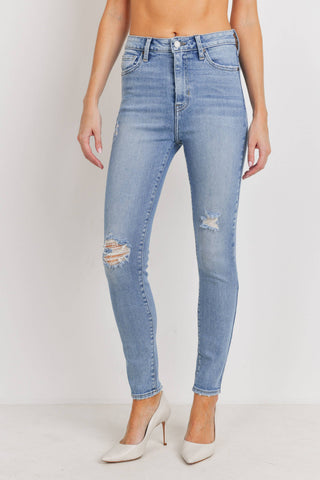 High Rise Slight Distress Ankle Skinny Jeans