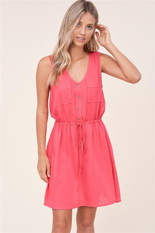 Coral Double Pocket Dress