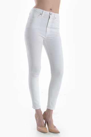 White High Rise Cropped Skinny Jean