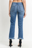 High Rise Distressed Frayed Hem Jeans