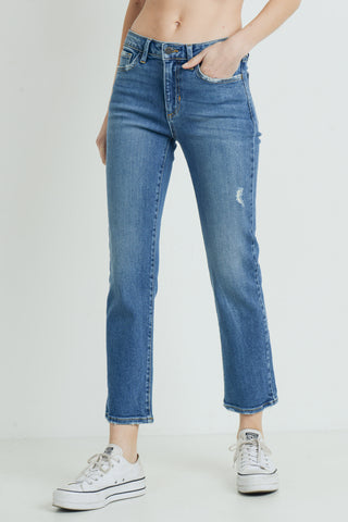 Medium Wash Straight Ankle Jeans