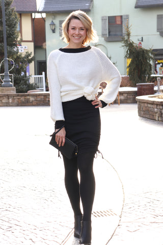 Black Sweater Ribbed Tights