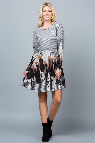 Cat Sweater Dress with Pockets