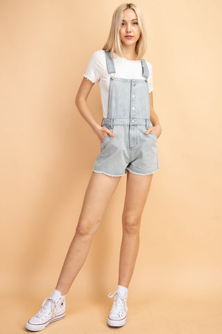 Denim Overalls with Fringe Trim