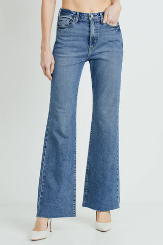 Super High Rise Scissor Cut Wide Leg Flare Jeans