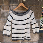 Black Striped Sweater with Bell Sleeves