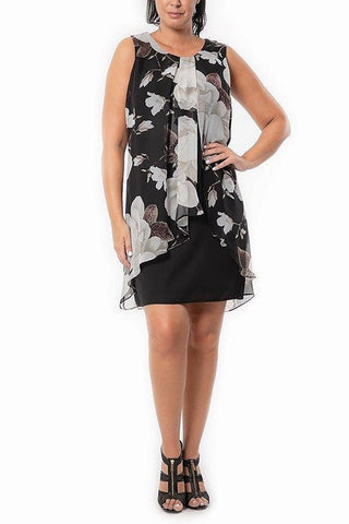 Sleeveless Black Floral Dress