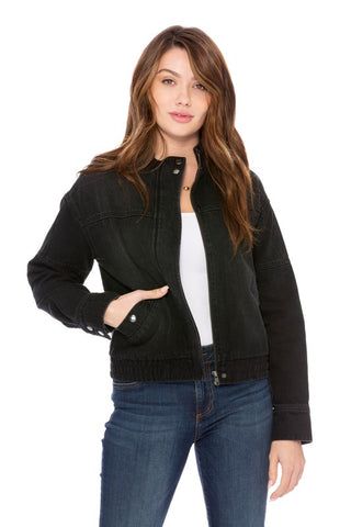 Black Khloe Denim Bomber
