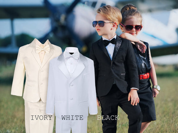 Baby to Big Boy 5-Piece Suit Tuxedo Satin Lapel, Black, Ivory, White, Baptism, Christening, Wedding Ring Bearer, Confirmation, Size 6mo to 20