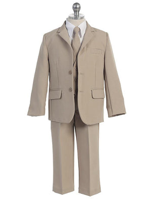 Baby Toddler to Big Boy 5-Piece Suit Tuxedo, Beige Khaki, Wedding Ring Bearer, Baptism, Size 6 months - 20