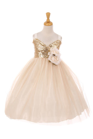 Champagne Gold Sparkle Bustier Tulle Dress 2-12