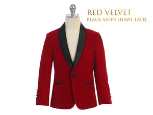 Toddler to Big Boy Slim Fit Red Luxurious Velvet Suit Blazer Coat Black Satin Shawl Lapel, Wedding Ring Bearer, Size 1-20