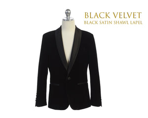 Toddler to Big Boy Slim Fit Luxurious Velvet Suit Blazer Coat Black Satin Shawl Lapel, Black, Wedding Ring Bearer, Size 1-20