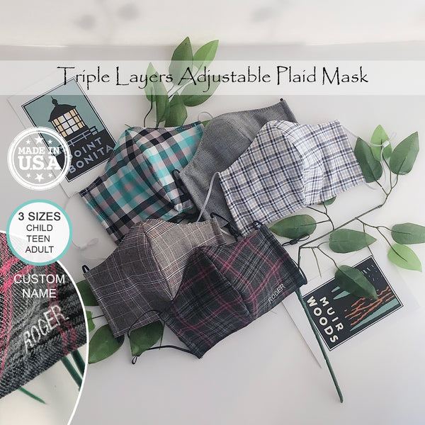 Plaid Face Contour Mask