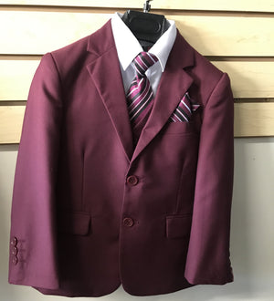 Little to Big Boy Slim Fit 7-Piece Burgundy Suit, Wedding Ring Bearer, Prom, Size 1-18