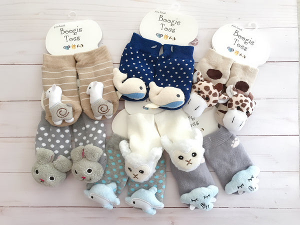Plush Animal Rattle Bootie Socks
