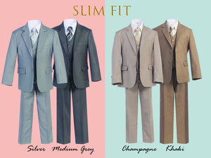 Little to Big Boy Slim Fit 7-Piece Suit, Gray, Khaki, Champagne, Wedding Ring Bearer, Prom, Size 1-18
