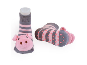 Gift Set Baby Rattle Socks Cotton Tights, Piggy 6-12m