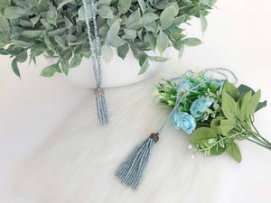 Beads Tassel Opera Necklace, Blue