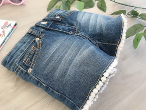 Denim Shorts Crochet Lace Hem 4-6