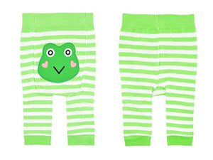 Baby Cotton Tights, Green Frog Bottom 6-12m