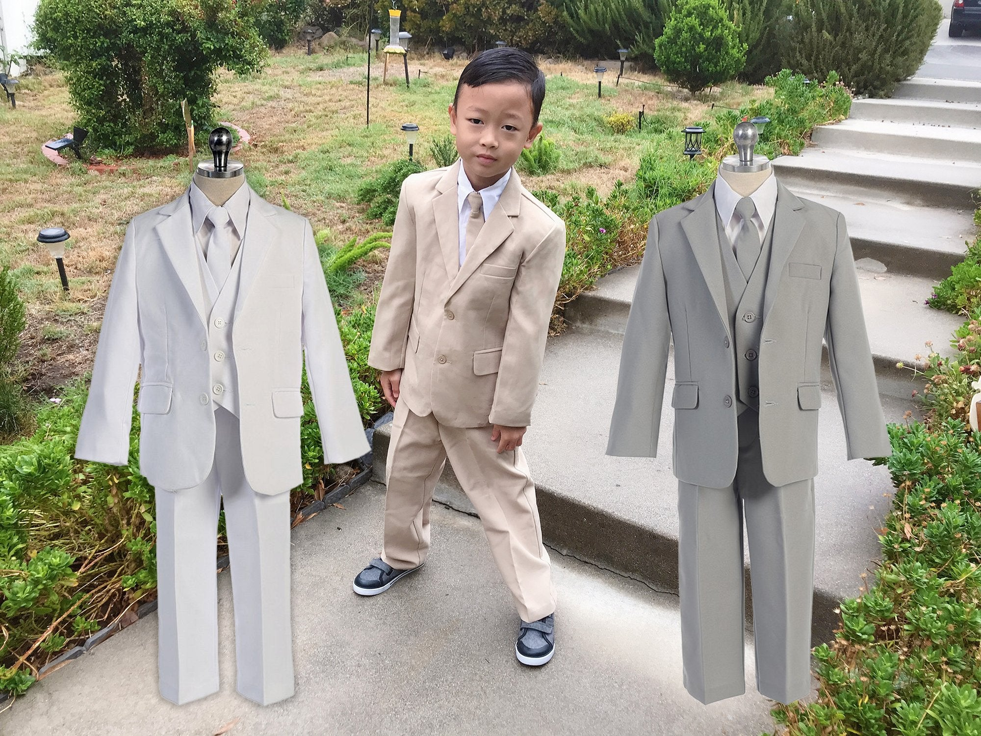 Baby Boys White 5 Piece Classic Vest Jacket Pants Special Occasion Suit 3-24M