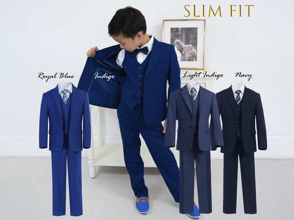 Little to Big Boy Slim Fit 7-Piece Suit, Royal Blue, Indigo, Light Indigo, Navy, Wedding Ring Bearer, Confirmation, Prom, Size 1-18