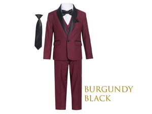 Little to Big Boy Slim Fit 7-Piece Burgundy Tuxedo Black Shawl Lapel, Wedding Ring Bearer, Prom, Size 1-18