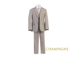 Little to Big Boy Slim Fit 7-Piece Champagne Suit, Wedding Ring Bearer, Prom, Size 1-18