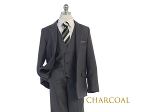 Toddler to Big Boy Slim Fit Premium 5-Piece Suit, Dark Gray Charcoal, Wedding Ring Bearer, Homecoming, Prom, Size 1-20
