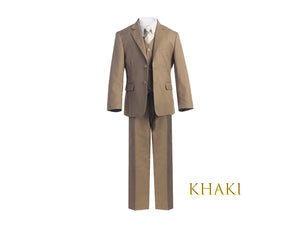 Little to Big Boy Slim Fit 7-Piece Khaki Suit, Wedding Ring Bearer, Prom, Size 1-18