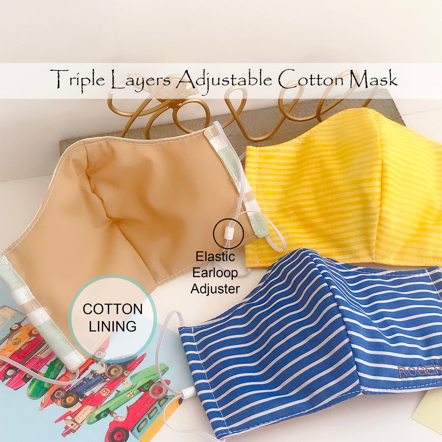 Stripes Cotton Face Contour Mask