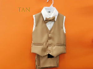 4pc Vest Bow-Tie Suit, Green Teal Tan 2-12