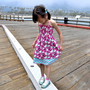 Girl Hello Kitty 2 Tones Shirred Summer Dress, Pink and Blue, Size 4 and 5