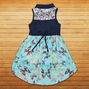 Girl Butterfly Aqua Navy Blue Chiffon Hi-Low Dress Size 5 and 6