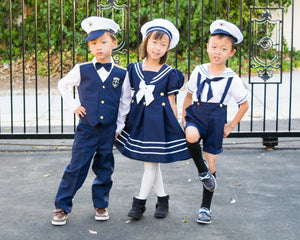 Boys Nautical Marine Captain 5 pieces Suit with Navy Jacket or Vest, Pants, White Shirt, Cap, Bow Tie, Birthday Party, Wedding, Size 6m - 7