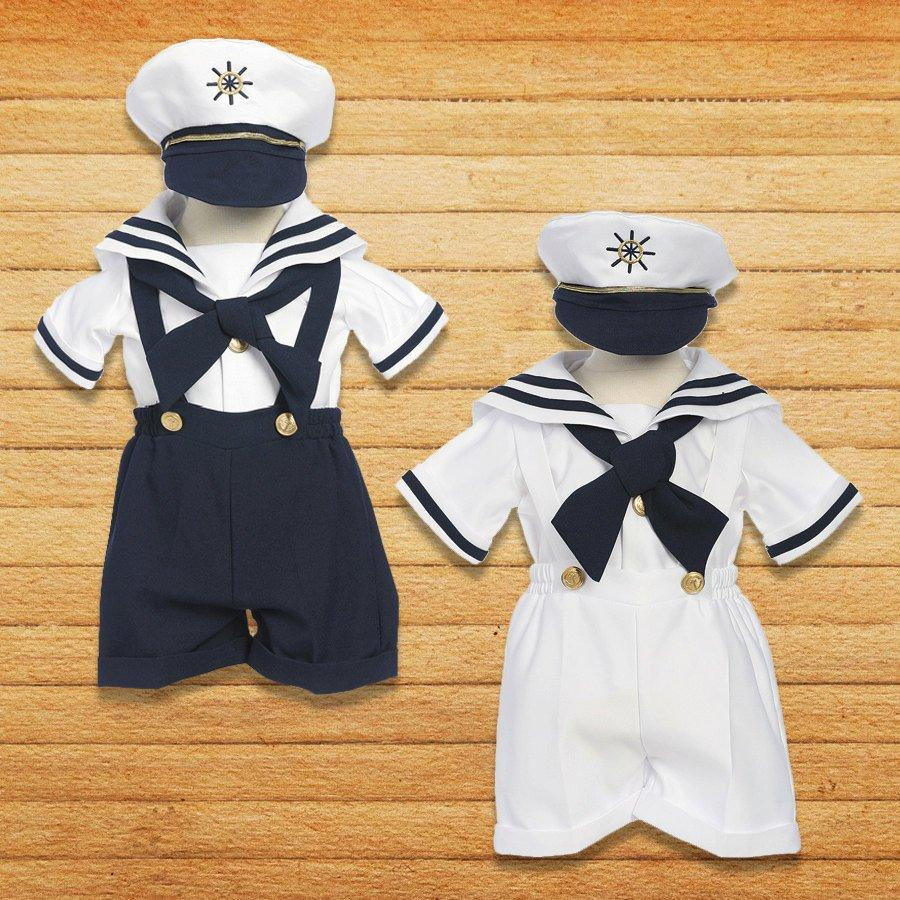 Infant Toddler Boy/'s Costume Sailor Outfit Navy Blue//White,Sz: Small to 4T