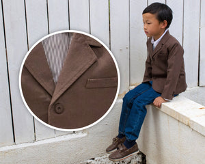 Boys Coffee Brown Cotton Preppy Suit Jacket Blazer