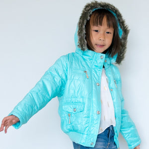 Girl Hooded Puffer Jacket, Light Blue, Pocket, Vegan Fur, Size 2