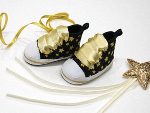 Baby Star Print Canvas Sneakers Booties Soft Sole Shoes Black Gold