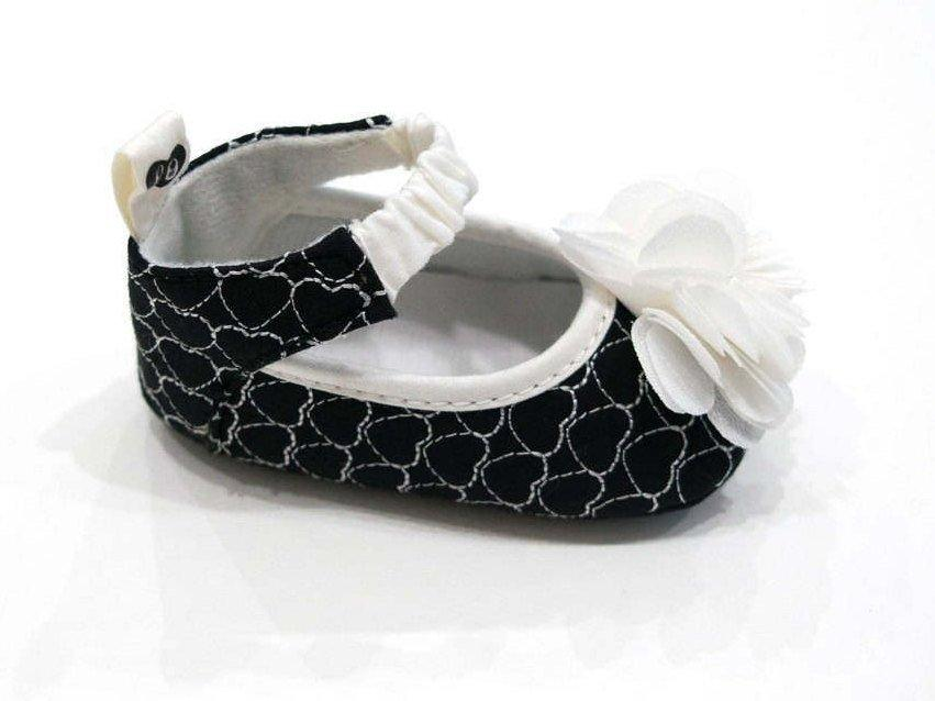 Baby Girls French Heart Chiffon Flower Ballerina Flats Soft Sole Crib Shoes Black White