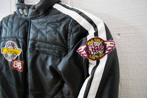 Boys Faux Leather Bomber Puffy Retro Biker Jacket