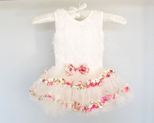 Baby Toddler Girl Rosette Tutu White Romper Dress