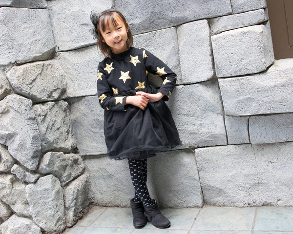 Girl Magical Gold Star Black Sweater Tulle Dress