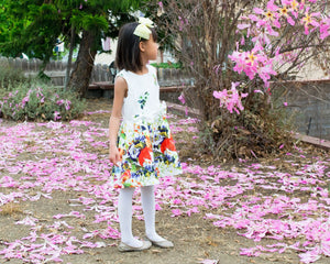 Girl Jacquard Floral Spring Garden Flower Pleated Dress
