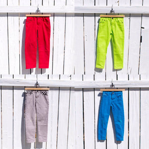 Boys Color Pop Jeans, Red Green Gray Blue