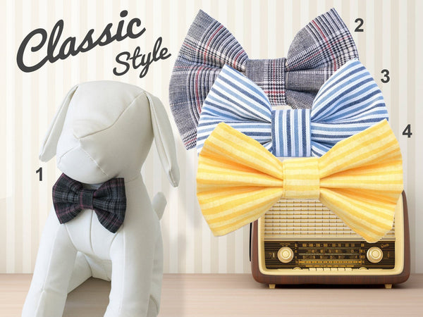 Classic Retro Plaids Stripes Dog Bow Tie, blue gray yellow