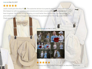 Baby to Little Boy Retro 5 piece Natural Linen Knickers Set, White Beige Gray, Wedding Ring Bearer Page Boy Baptism Christening Size 6m - 4T