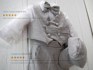 Baby Boy Retro Newsboy 5 piece Natural Linen Vest Suit Set, Gray Beige Black Charcoal White, Baptism Christening Wedding Ring Bearer